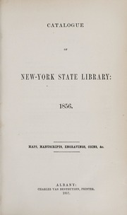 Catalogue of New-York State Library: 1856