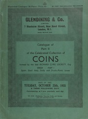 Catalogue of Part II of the celebrated collection of coins, formed by the late Richard Cyril Lockett, Esq. : Greek, Part I : Spain, Gaul, Italy, Sicily, and Siculo-Punic issues ... [10/25/1955]