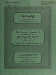 Catalogue of Part III (Final) of the important collection of Norman and Plantagenet coins, from the Conquest of William I in 1066, to the Reform of Edward III in 1351, formed by the late F[rancis] Elmore Jones, Esq. ... [Catalogued by P.D. Mitchell ... Photographed by P.F. Purvey] ... [10/07/1986]