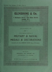 Catalogue of Part I of the important collection of military and naval medals and decorations, formed by the late Ambrose Elson, Esq., of Coventry ... [02/27/1963]