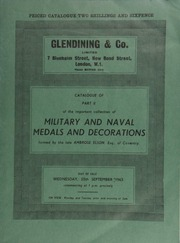Catalogue of Part II of the important collection of military and naval medals and decorations, formed by the late Ambrose Elson, Esq., of Coventry ... [09/25/1963]