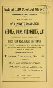Catalogue of a private collection of medals, coins, curiosities ... [09/28/1871]