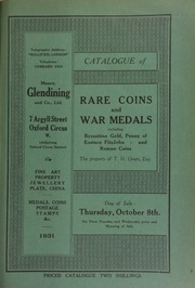 Catalogue of rare coins and war medals, including Byzantine gold, penny of Eustace FitzJohn, and Roman coins, the property of T.H. Green, Esq. ... [10/08/1931]