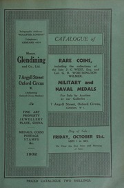 Catalogue of rare coins, including the collection of coins found locally by the late J.G. West, Esq.; countermarked coins of Col. G.R. Worthington Wilmer; seventeenth century tokens of Berkshire; [and] military and naval medals ... [10/21/1932]