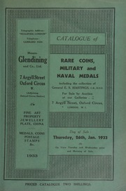 Catalogue of rare coins, military and naval medals, containing historical medals, silver coins, Roman first brass, cabinets, and books, and including the collection of General E.S. Hastings, C.B., D.S.O., formed in India, as well as a Victoria Cross ... [01/26/1933]