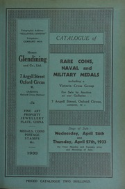 Catalogue of rare coins, military and naval medals, including British colonial coins; English and Scottish coins, the property of Archibald Cuff; a collection of medals of the 5th Northumberland Fusiliers  ... [04/26/1933]