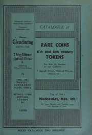 Catalogue of rare coins, [and] 17th and 18th century tokens, [containing] Indian gold coins, English silver coins, Greek and Roman coins, foreign talers, and Scottish tokens, [etc.] ... [11/08/1933]