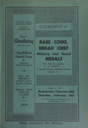 Catalogue of rare coins, Indian chief and other medals, the property of an American collector, [also including] silver and copper coins, historical medals, Greek, Roman, Bactrian and Parthian coins, military and naval medals, badges, [etc.] ... [02/14/1934]