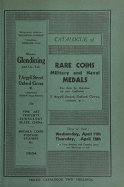 Catalogue of rare coins, [and] military and naval medals, [including] the property of Allan C. Wyon, Esq., [containing] sixty-six bronze specimen medals by various members of the Wyon family, [etc.] ... [04/11/1934]