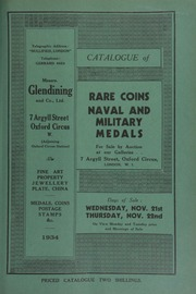 Catalogue of rare coins, [and] naval and military medals, [including] the property of N.B. Jopson, Esq.; historical medals, the property of James Chapman Woods, Esq.; [as well as] an oak cabinet by Spink & Son; [and] a catalog of the Sir Hermann Weber collection of Greek coins ... [11/21/1934]