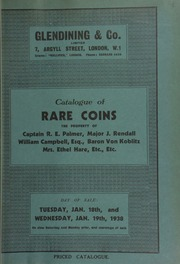 Catalogue of rare coins, the property of Captain R.E. Palmer; Major J. Rendall; Mrs. Ethel Hare; [and] William Campbell, Esq., Paisley; [also] late Roman and early Byzantine coins  ... [01/18/1938]