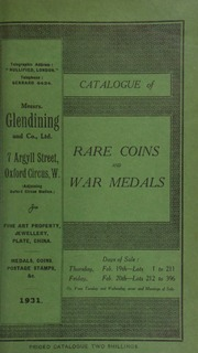Catalogue of rare coins and war medals, including an Irish revenue dispute, 1753, gold medal; ... a swan-keeper's badge, with crown above, and swan below; ... a murder of the brother's Dewitt medal, 1672; ... the very rare gold Nobel Prize medal of Sweden,  ... [02/19/1931]