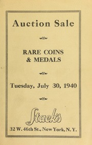 Catalogue of rare United States and foreign silver and copper coins. [07/30/1940]