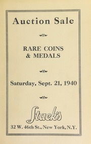 Catalogue of rare United States and foreign gold, silver, and copper coins : from the collection of Harry Sidlett and others. [09/21/1940]