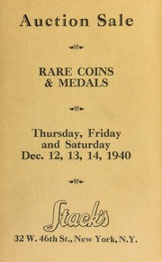 Catalogue of rare United states and foreign gold, silver, and copper coins ... [12/12-14/1940]