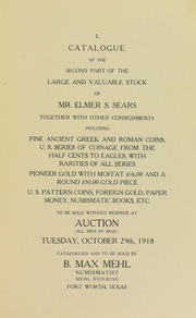 Catalogue of the Second Part of the Large and Valuable Stock of Mr. Elmer S. Sears Together With Other Consignments