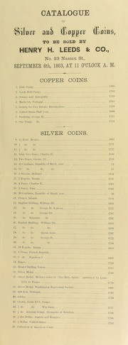 Catalogue of silver and copper coins to be sold ... [09/08/1863]