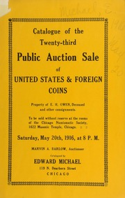 Catalogue of the twenty-third public auction sale of United States & foreign coins ... [05/20/1916]