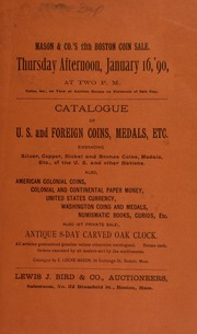 Catalogue of U. S. and foreign coins, medals, etc. [01/16/1890]