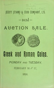 Catalogue of a valuable and very extensive collection of Greek and Roman coins ... [02/16/1891]