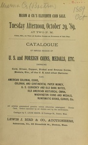 Catalogue of various invoices of U.S. and foreign coins, medals, etc. ... [10/29/1889]