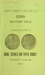 Catalogue of various collections of coins, medals, and tokens ... [06/26/1894]