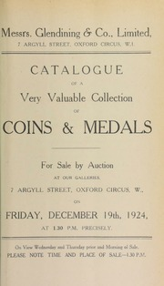 Catalogue of a very valuable collection of coins and medals, including tickets of admission to theaters and places of amusement, such as a Vauxhall Gardens ticket, a pass for The Grotto, gambling tickets, [etc.] ... [12/19/1924]
