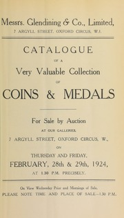 Catalogue of a very valuable collection of coins and medals, from various properties, containing Indian gold coins, numismatic books, and war medals and decorations... [02/28/1924]