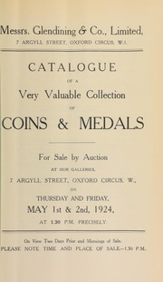 Catalogue of a very valuable collection of coins and medals, including the property of a lady; the Quinta Estate collection; [and] the property of a deceased collector ... [05/01/1924]
