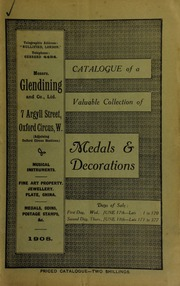 Catalogue of a very valuable collection of coins & medals, including the collection of medals and decorations, the property of G.C. Croft, Esq., Park Lane, W. ... [06/17/1908]