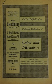 Catalogue of a very valuable collection of coins & medals, including the property of a lady ... [07/28/1908]