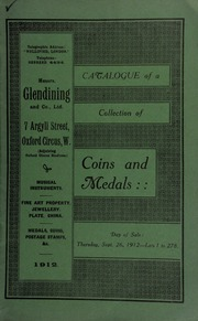 Catalogue of a very valuable collection of coins & medals, including groups of medals from various military regiments, the property of a collector ... [09/26/1912]