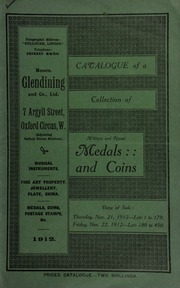 Catalogue of a very valuable collection of coins & medals, including the collection formed by the Rev. David Jones, of Leonard Stanley; and the property of a collector, deceased ... [11/21/1912]