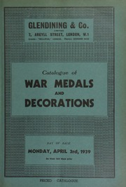 Catalogue of war medals & decorations, including the collection of Lt.-Col. R.L. McClintock, C.M.G., D.S.O., and containing a silver presentation piece depicting Maori life at the fringe of a lagoon, the sea represented by New Zealand jade ... [04/03/1939]