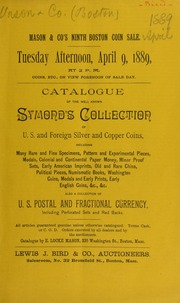 Catalogue of the well known Symond's collection of U.S. and foreign silver and copper coins ... [04/09/1889]
