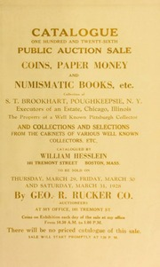 Catalogue : one hundred and twenty-sixth public auction sale. [03/29/1928]