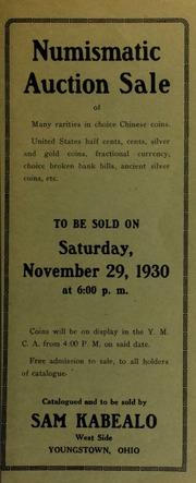 Numismatic auction sale. [11/29/1930]