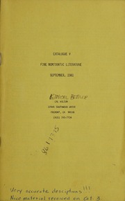 Catalogue V Fine Numismatic Literature