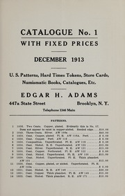 Catalogue With Fixed Prices: U.S. Patterns, Hard Times Tokens, Store Cards, Numismatic Books, Catalogues, Etc.