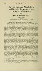 Vol v.83 Heft 1-4 1917: Zur Entwicklung, Morphologie und Biologie der Vorlarven und Larven der Canthariden.
