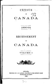 Census of Canada, 1890-1891: Recensement Du Canada