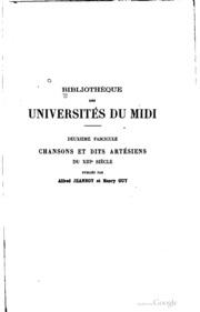 Chansons et dits artésiens du XIIIe siècle