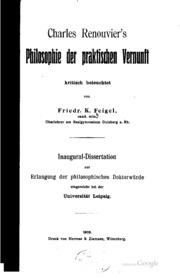 Charles Renouvier-s philosophie der praktischen vernunft kritisch beleuchtet ..