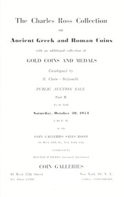 The Charles Ross Collection of Ancient Greek and Roman Coins... Part II