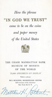 """How the phrase """"IN GOD WE TRUST"""" came to be on the coins and paper money of the United States"""