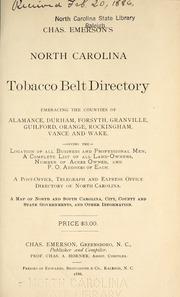 Chas  Emerson's North Carolina tobacco belt directory