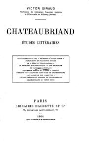 Chateaubriand: études littéraires