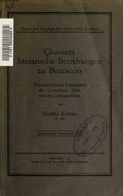 Chaucers literarische Beziehungen zu Boccaccio, die künstlerische Konzeption der Canterbury Tales und das Lolliusproblem