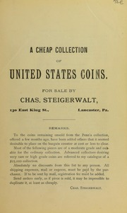 A Cheap Collection of United States Coins, 1905