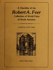 A checklist of the Robert A. Feer collection of world fairs of North America